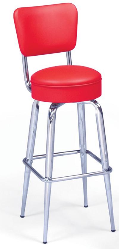 Vitro 265125RB Bar Stool, Revolving Seat & Back, Metal Paint, Tapered Legs