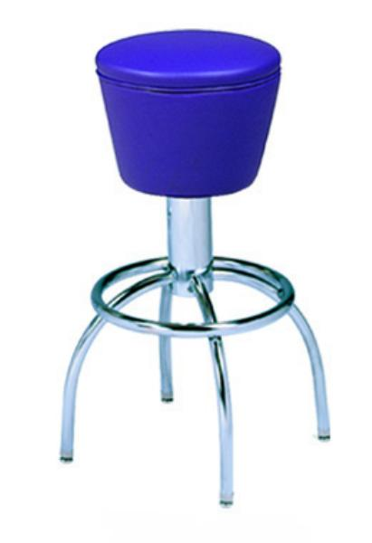Vitro 300161 Bar Stool, Revolving Mushroom Seat, Chrome, Foot Ring