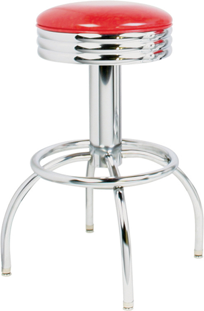 Vitro 300-49NS Arch Leg Barstool w/ Revolving Scalloped Ring Seat & Chrome Finish