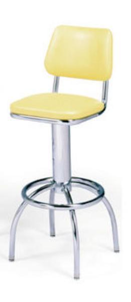 Vitro 300530 Bar Stool, Revolving Seat & Back, Chrome, Foot Ring
