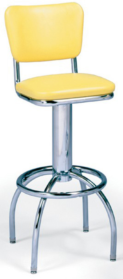 Vitro 300921 Bar Stool, Revolving Seat & Back, Chrome, Foot Ring