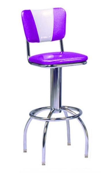 Vitro 300921V Bar Stool, Revolving Seat & V Back, Chrome, Foot Ring