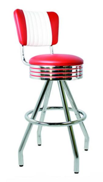 Vitro 400782RBMB Bar Stool, Pyramid Base, Grooved Ring, 1 in Pulled Seat, Chrome