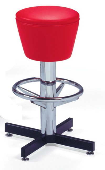 Vitro 500161 Bar Stool, Revolving Seat, Chrome Column & Foot Ring, Black Base
