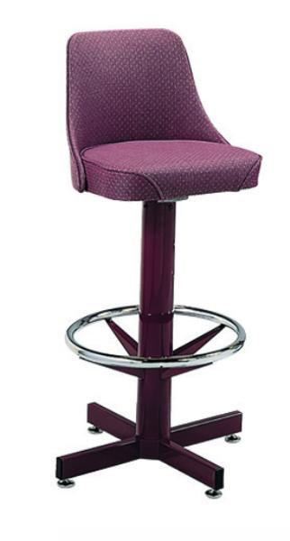 Vitro 500242WF Bar Stool, Revolving Seat & Back, Chrome Column & Foot Ring, Black Base