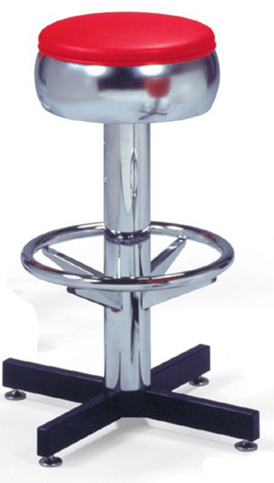 Vitro 500781 Bar Stool, Revolving Seat, Chrome Column & Foot Ring, Black Base