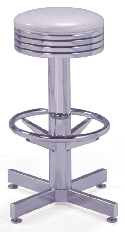 Vitro 500782 Bar Stool, Grooved Ring Seat, Chrome Column & Foot Ring, Black Base
