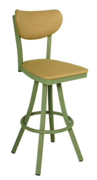 Vitro 600OX40 Oxford Series Bar Stool, Banana Back, Free Standing Swivel, Metal Frame