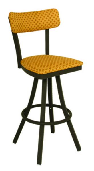 Vitro 600OX50 Oxford Series Bar Stool, Sled Back, Free Standing Swivel, Metal Frame