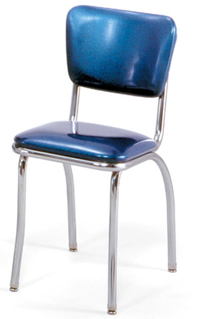 Vitro 921 Classic Diner Chair, Curved Back, 1 in Pulled Seat, Chrome