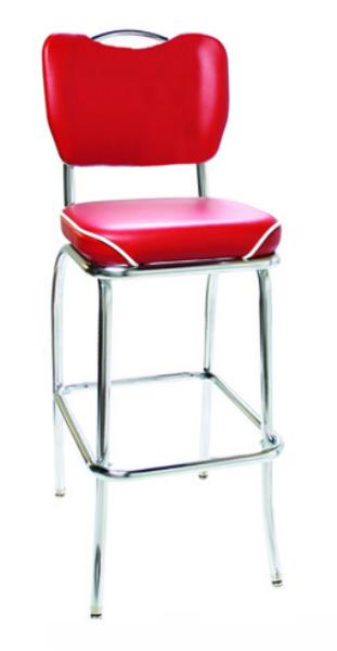 Vitro 921HBWFBS Classic Diner Bar Stool, Handle Back, 2 in Waterfall Seat, Chrome