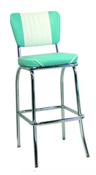 Vitro 921MBWFBS Classic Diner Bar Stool, Malibu Style Back, 2 in Waterfall Seat, Chrome