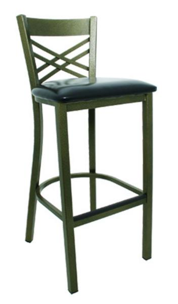 Vitro LSC1450 Legend Series Bar Stool, Cross Strap Back, Metal Frame