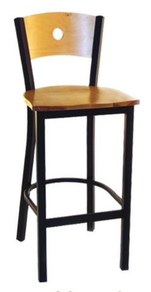 Vitro LSC1550 Legend Series Bar Stool, Wood Moon Back, Metal Frame