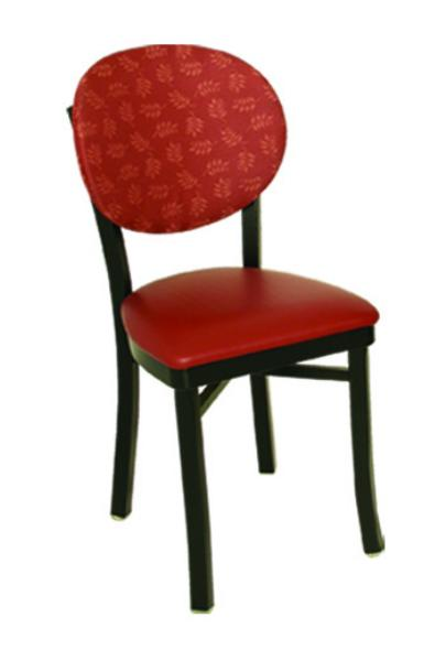 Vitro OX20 Oxford Series Chair, Round Back, 1 in Pulled Seat, Metal Frame