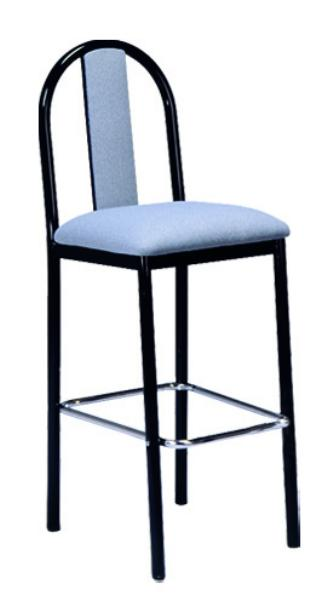 Vitro USBBSPS Omni Series Bar Stool, Upholstered Slat Back, Metal Frame