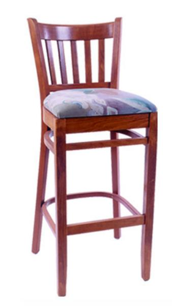 Vitro WLS1000BS Woodland Series Bar Stool, Slat Back, Upholstered Seat, Wood Frame