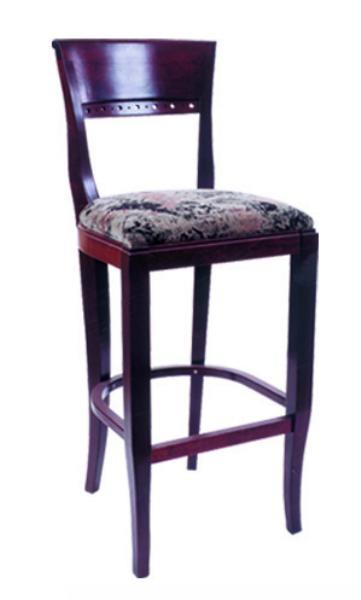 Vitro WLS1140BS Woodland Series Bar Stool, Venice Back, Upholstered Seat, Wood Frame