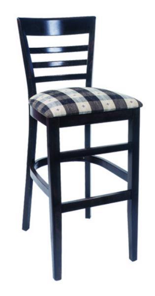 Vitro WLS1170BS Woodland Series Bar Stool Windsor Back Upholstered Seat Wood Frame Restaurant Supply