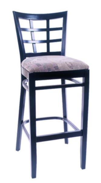 Vitro WLS1200BS Woodland Series Bar Stool, Lattice Back, Upholstered Seat, Wood Frame