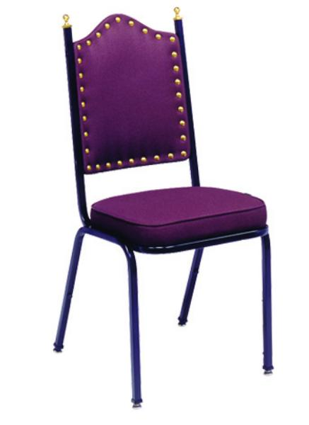 Vitro X41BNSH Stacker Series Chair, High Back w/ Brass Nails, 2 in Sewn Seat, Metal Frame