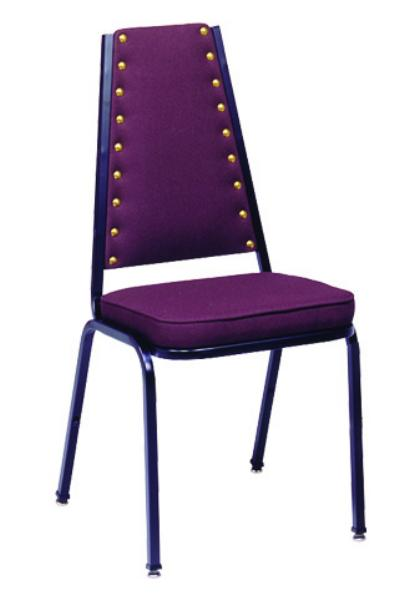Vitro X61BNSH Stacker Series Chair, High Back w/ Brass Nails, 2 in Sewn Seat, Metal Frame