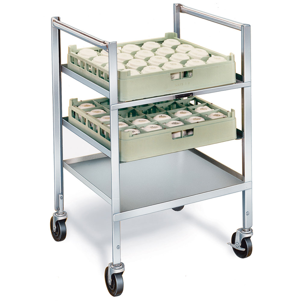 Lakeside 197 Glass Cup Rack Transport Cart w/ (1) Solid Shelf, Holds (5) Full Size Racks