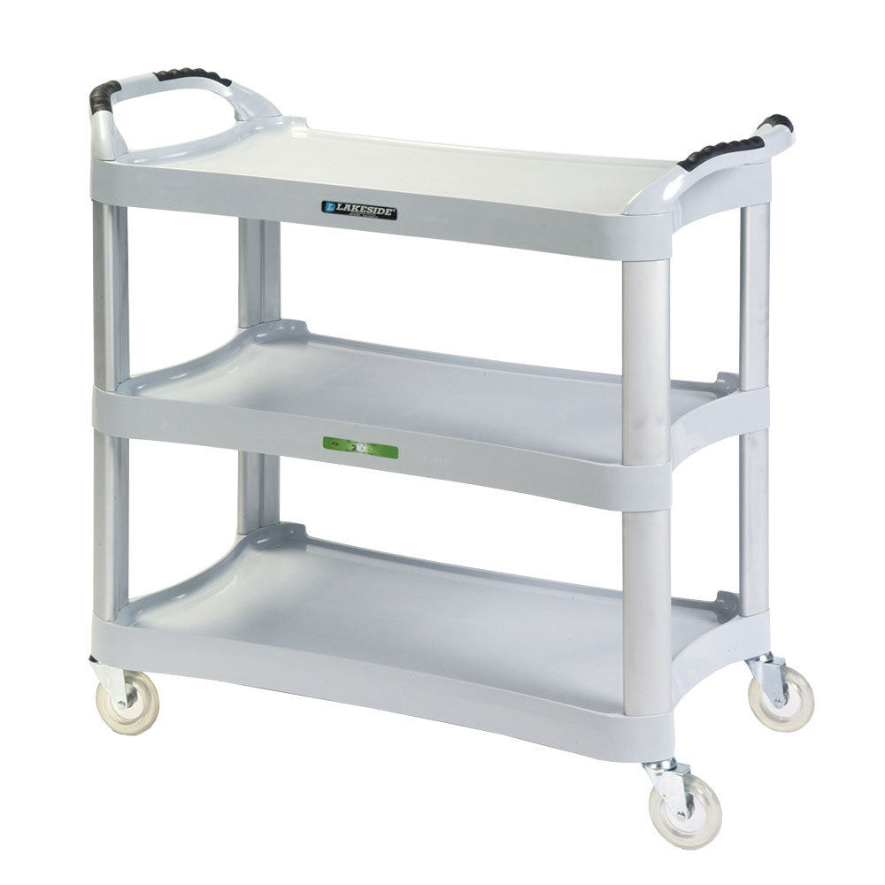 Lakeside 2510 3-Shelf Utility Cart w/ Cushion Grip Handles, 500-lb Capacity, Light Gray