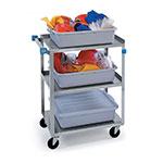 Lakeside 311 Utility Cart, (3) 15-1/2 in x 24 in Shelves SS Angle Frame, 300 lb