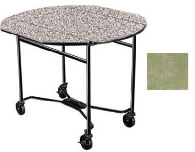 Lakeside 412 BGSUE 40-in Round Drop-Leaf Room Service Table, Beige Suede