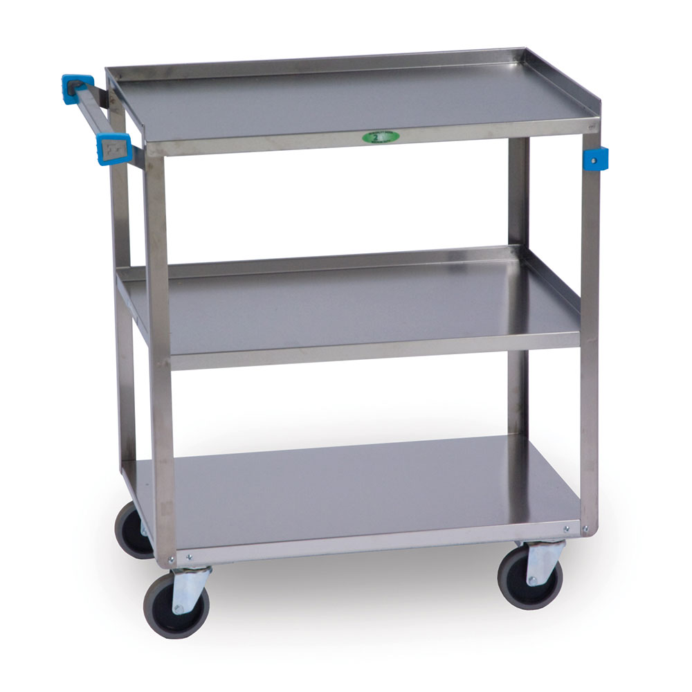 Lakeside 422 Utility Cart, (3) 18 in x 27 in Shelves, SS Angle Frame, 500 lb