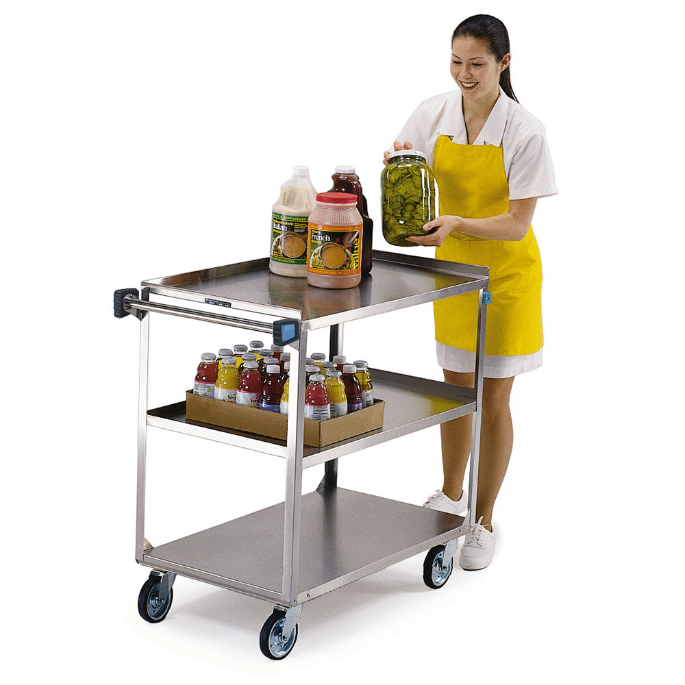 Lakeside 444 3-Shelf Utility Cart w/ Angle Frame & Push Handle, 500-lb Capacity