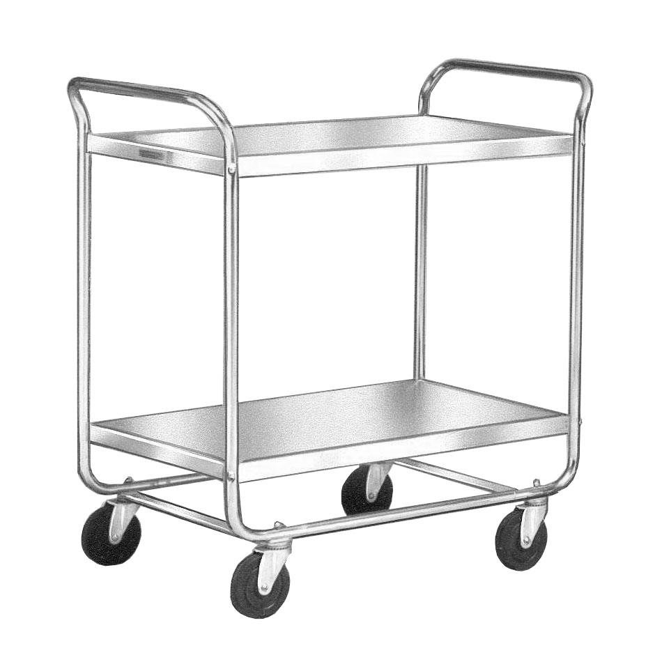 Lakeside 492 2-Shelf Utility Cart w/ Push Handles & Open Base, 500-lb Capacity