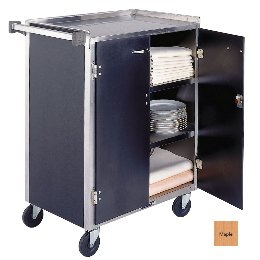 Lakeside 615 LMAP Enclosed Bus Cart w/ 4-Shelves, Handle, 300-lb, Light Maple