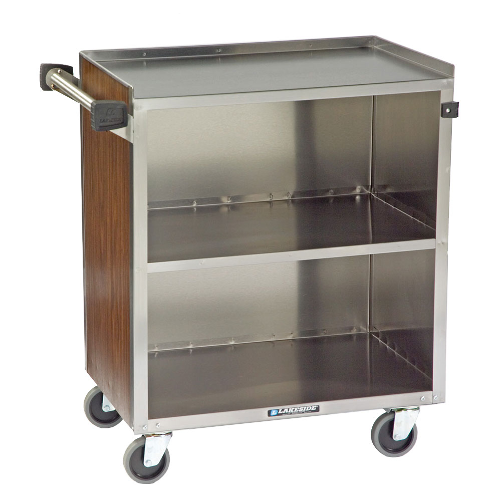 Lakeside 622 3-Shelf Bussing Cart w/ Enclosed Back & Sides, 500-lb Capacity