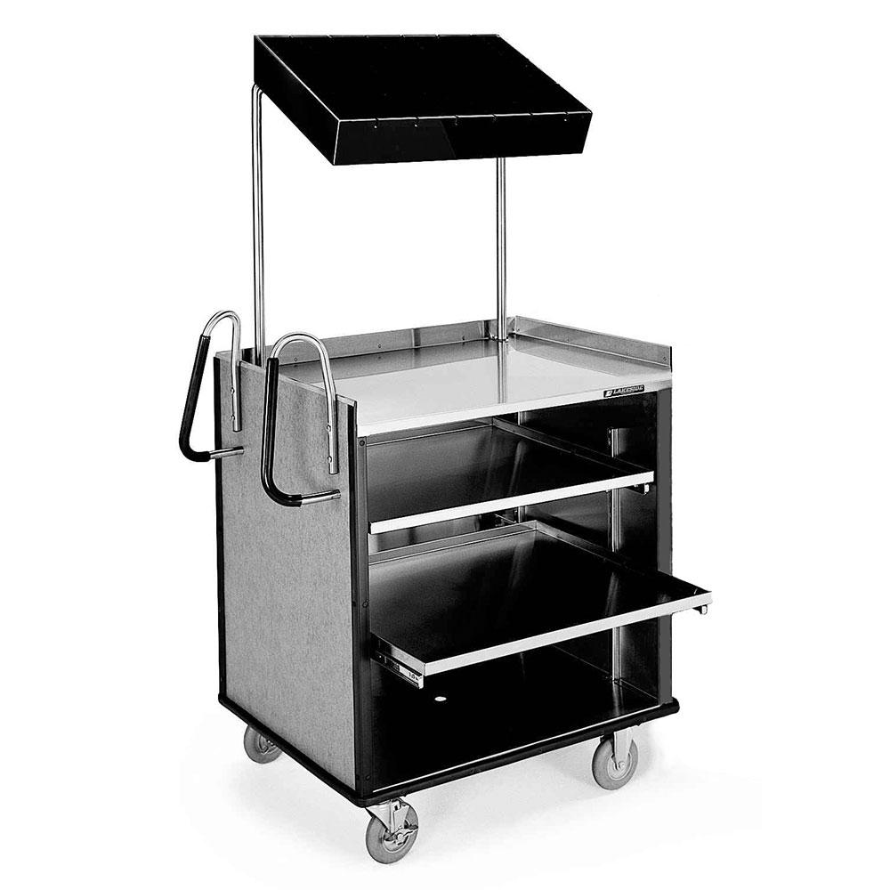 Lakeside 660 BLK Compact Mart Cart w/ Overshelf & (1) 70-lb Shelf, Bl
