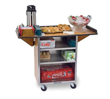 Lakeside 672 BLK Beverage Service Cart w/ 3-Shelves & Drop Leaves, Black