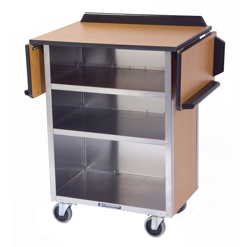 Lakeside 672 LMAP Beverage Service Cart w/ 3-Shelves & Drop Leaves, Li