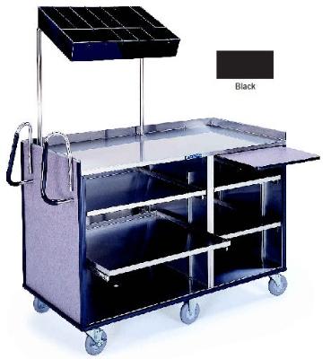 Lakeside 680 BLK 60-in Deluxe Mart Cart w/ Adjustable Shelves & Handles, Black