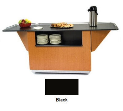 Lakeside 6855 BLK 99-in Breakout Dining Station w/ Drop Leaf & 2-Compartment
