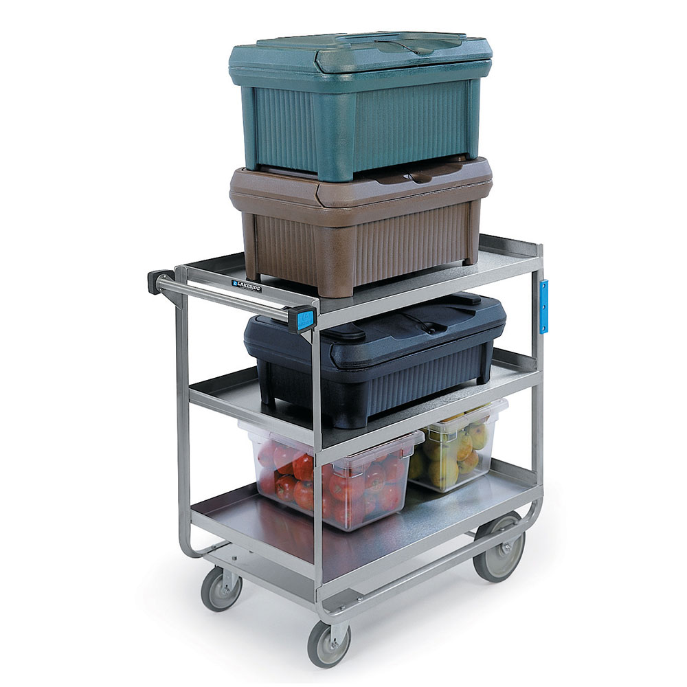 Lakeside 744 Utility Cart, (3) 21 x 33-in Shelves & Stainless Frame, 700 lb