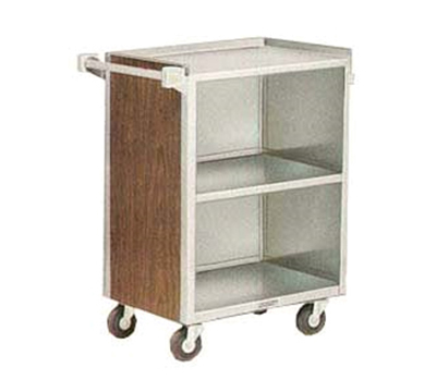 Lakeside 810 WAL Enclosed Bus Cart w/ (3) 15.5 x 24-in Open Shelves, 500-lb, Walnut