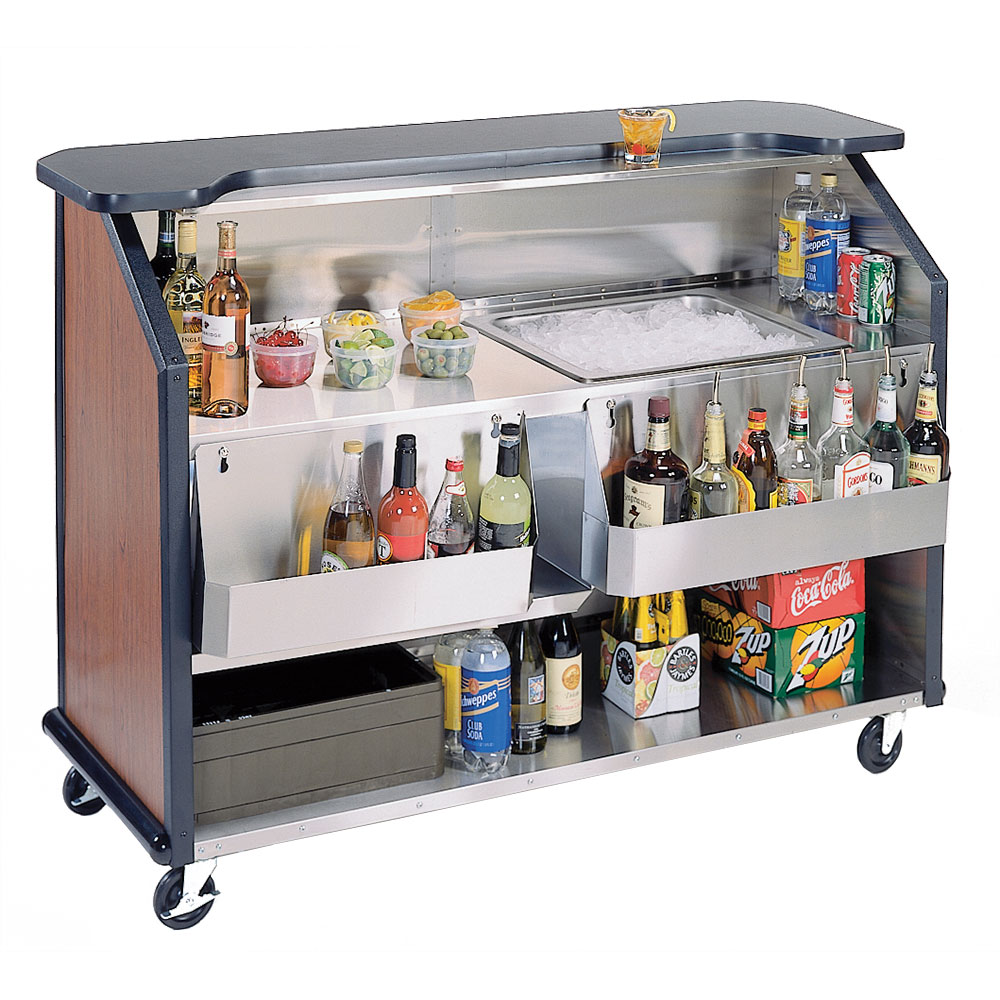 Lakeside 887 63.5-in Portable Bar w/ 40-lb Ice Bin & Drain, (2) 7-Bottle Speed Rails