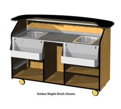 Lakeside 68500 66.25-in Portable Bar w/ (2) 40-lb Ice Bins, Wood Laminate