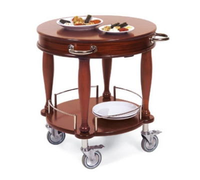 Lakeside 70029 29.5-in Round Wood Veneer Serving Cart w/ Pull-Out Shelf