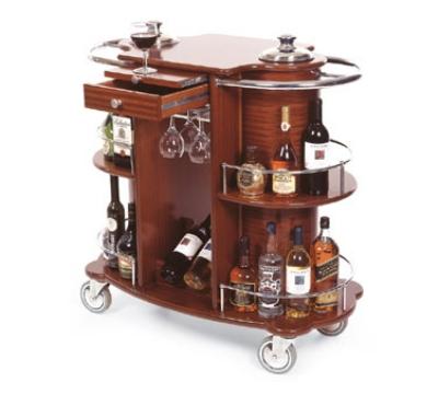 Lakeside 70260 Oval Wine Liquor Cart w/ Recessed Ice Buckets & 2-Shelves