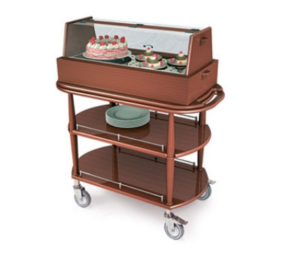 Lakeside 70355 Wood Veneer Pastry Cart w/ Acrylic Hinged Dome & 2-Oval Shelves