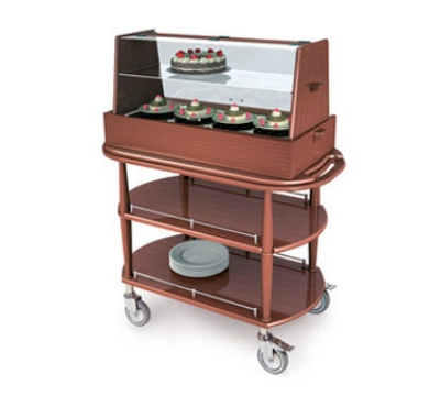 Lakeside 70358 Wood Veneer Pastry Cart w/ Acrylic Hinged Dome & Shelf, 43-3/8-in