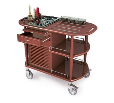 Lakeside 70362 Wood Veneer Flambe Cart w/ 2-Burner Propane Cooktop,