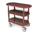 Lakeside 70531 35.5-in Wood Veneer Oval Serving Cart w/ 2-Shelves & Rails